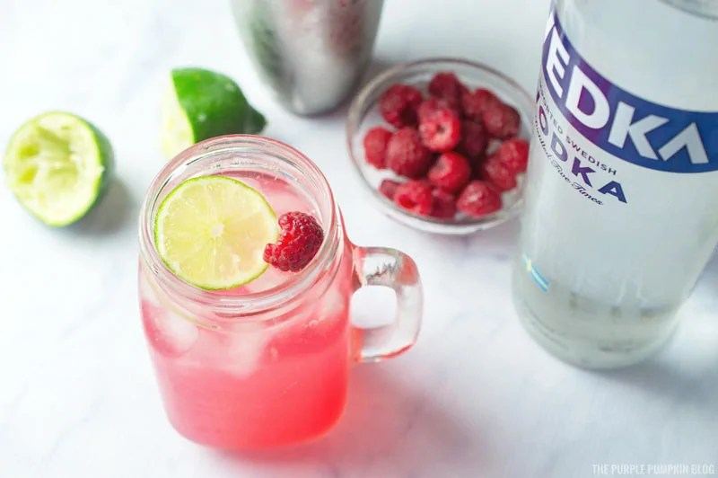 Mixed Raspberry Lime Vodka Cocktail in glass