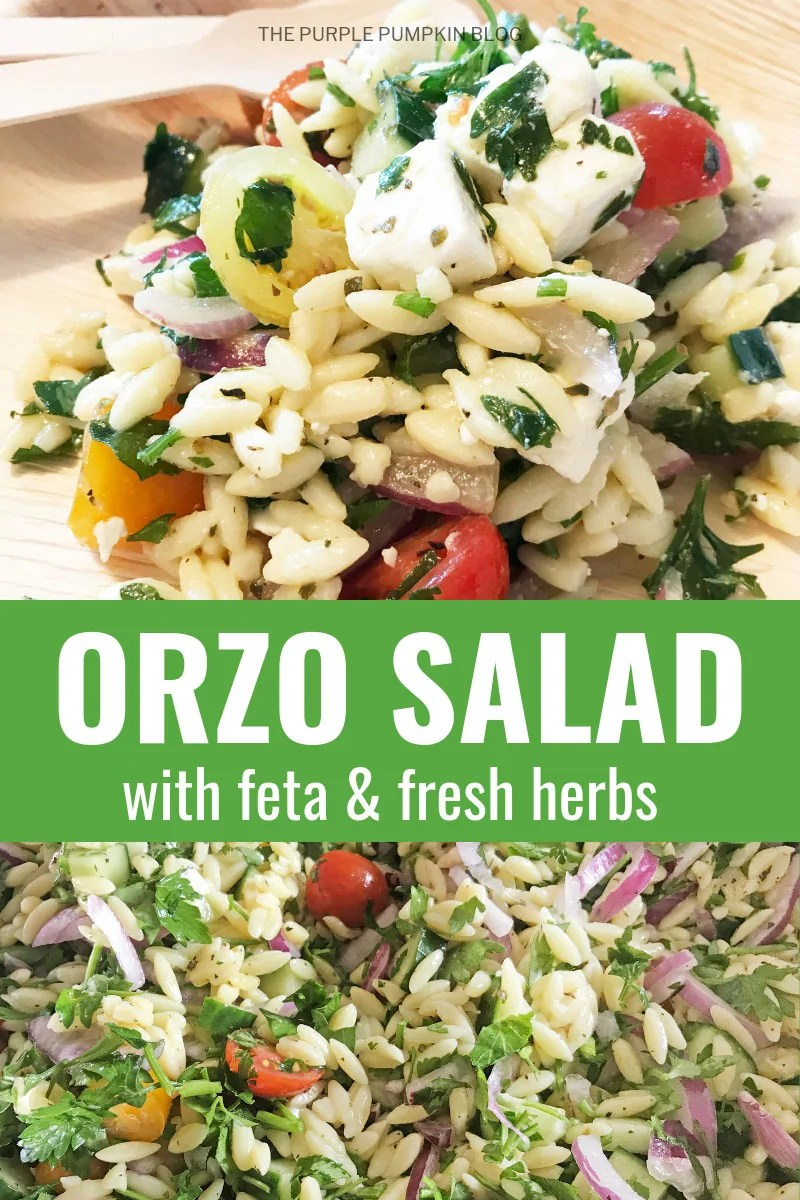 Orzo salad with feta and fresh herbs