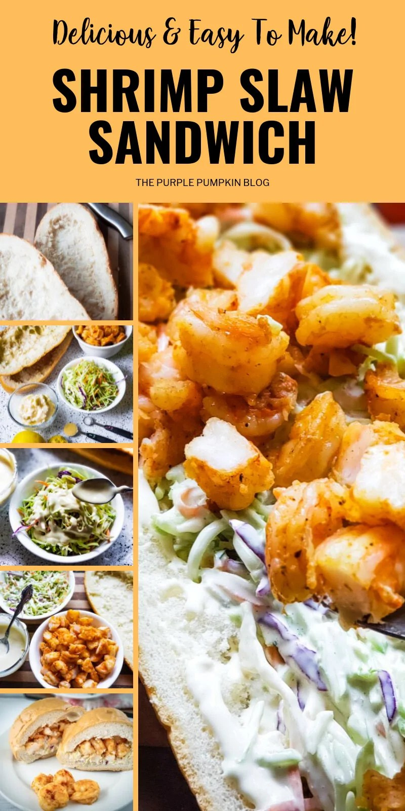 Delicious & easy to make shrimp slaw sandwich with images demonstrating how to make it.