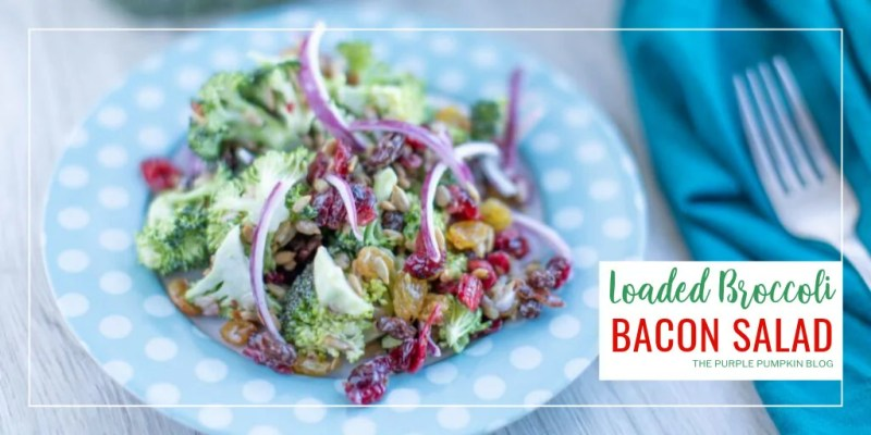 Plate of Loaded Broccoli Bacon Salad