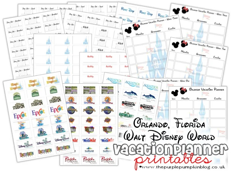 Orlando Florida, Walt Disney World Vacation Planner Printables