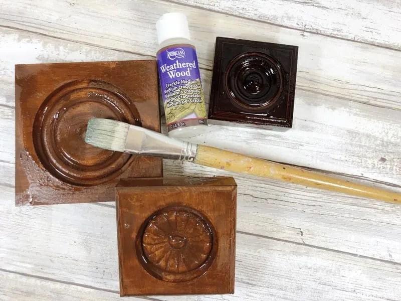 Applying Crackle Medium to Wood Blocks