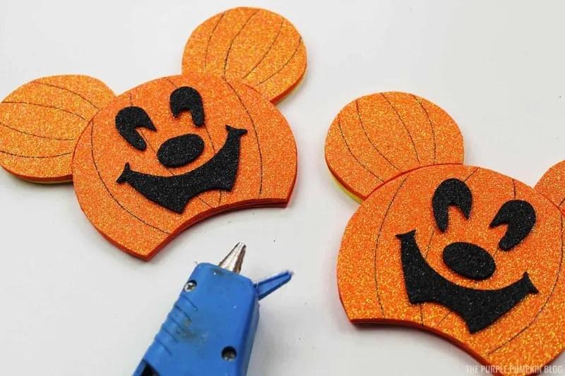 Attaching Pumpkin Ears & Mickey Face