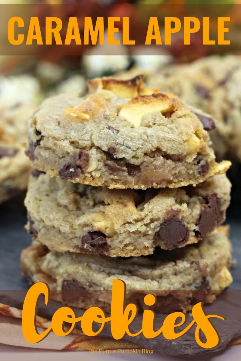 three stacked caramel apple cookies