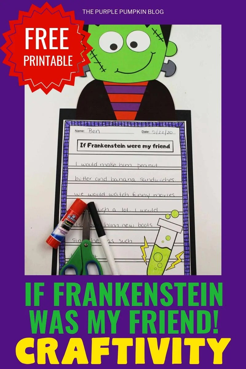 """Free printable """"If Frankenstein was my friend!"""" Craftivity"""