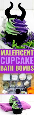 Maleficent cupcake bath bombs