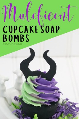 Maleficent cupcake soap bombs