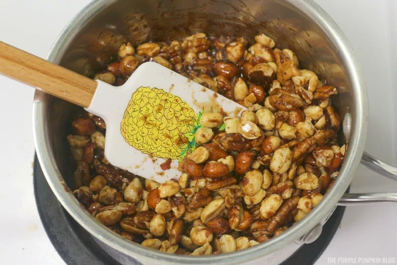 trail mix being prepared in saucepan