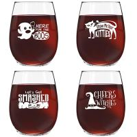 Halloween Glass Set - Cheers Witches, Here for the Boos
