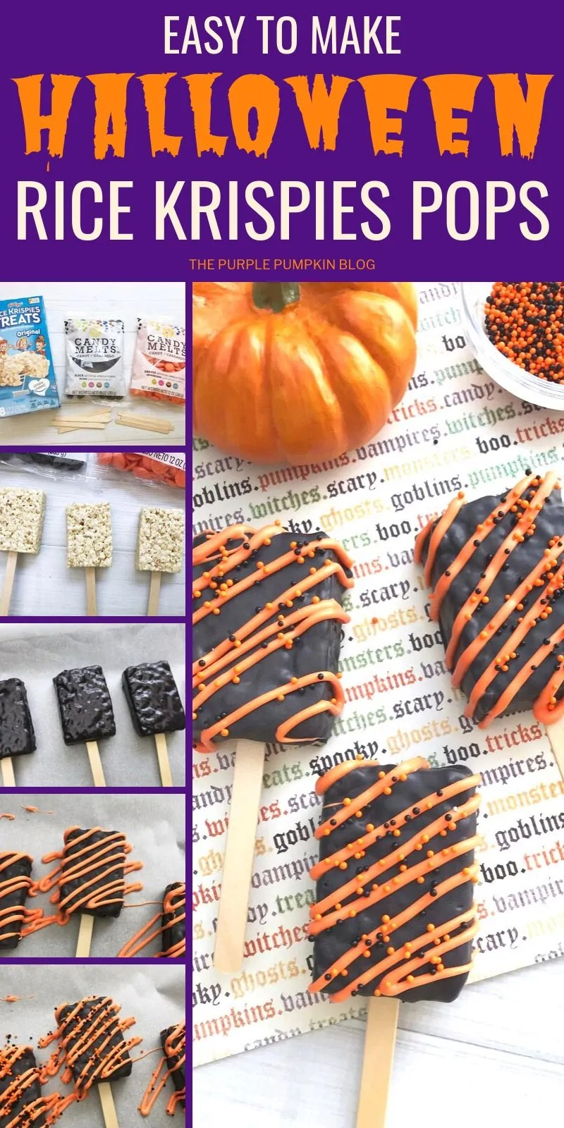Step by step images for Halloween rice krispies pops