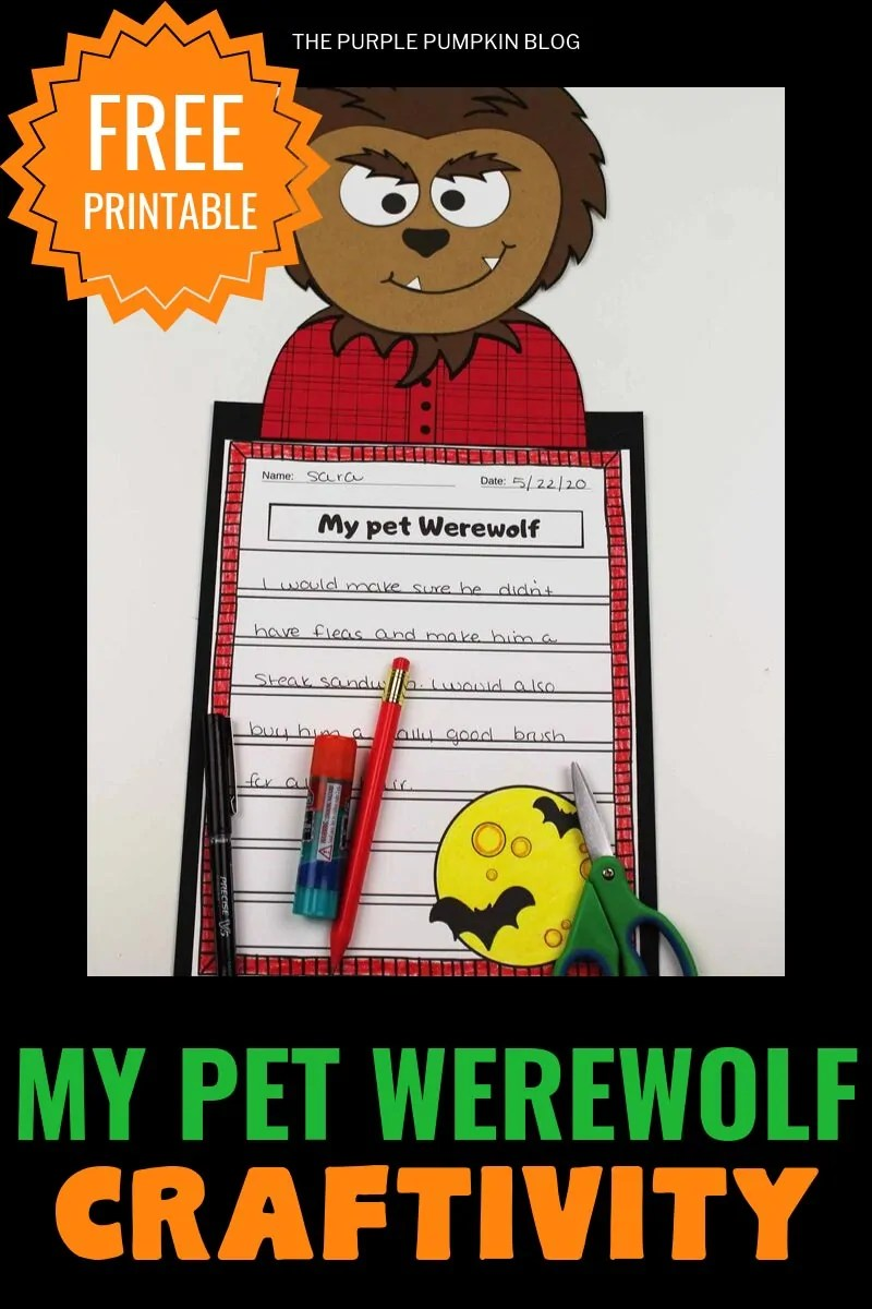 "Free printable ""My pet werewolf"" craftivity"