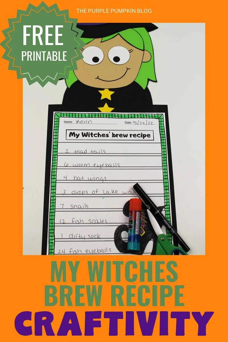 "Free Printable ""my witches brew recipe"" craftivity"