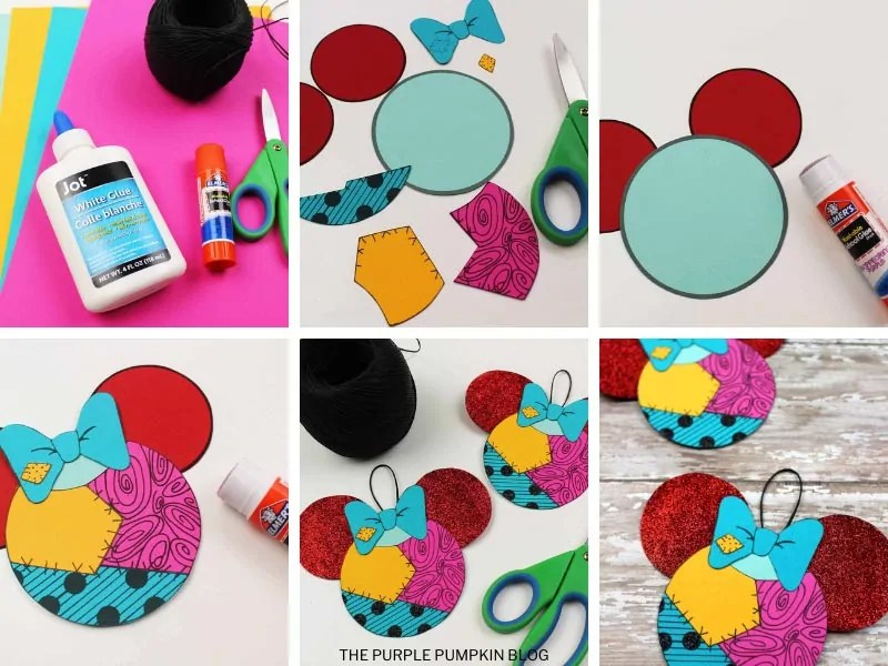 Step by step photos demonstrating how to make a Sally ornament