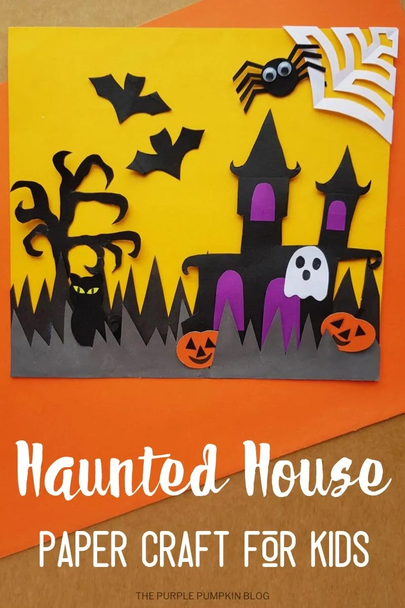 Haunted House paper craft - a fun hallloween craft for kids