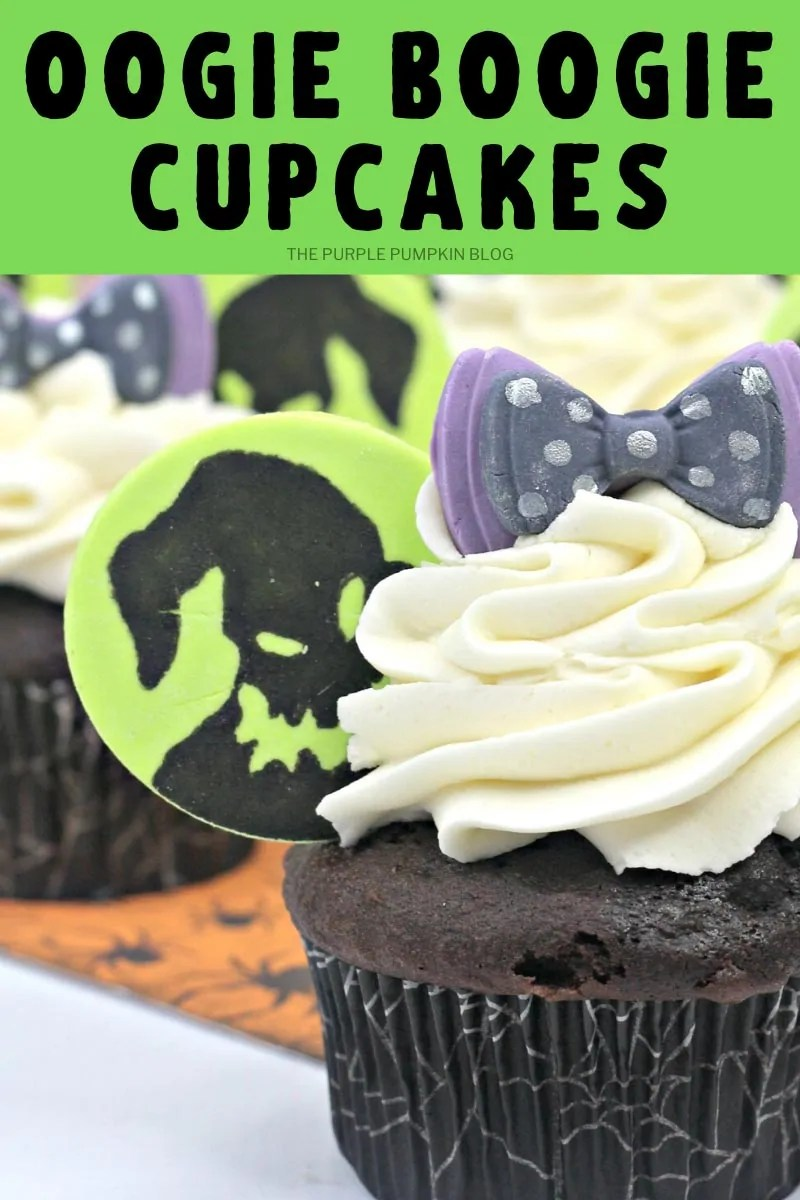 Close up of Oogie Boogie Cupcake