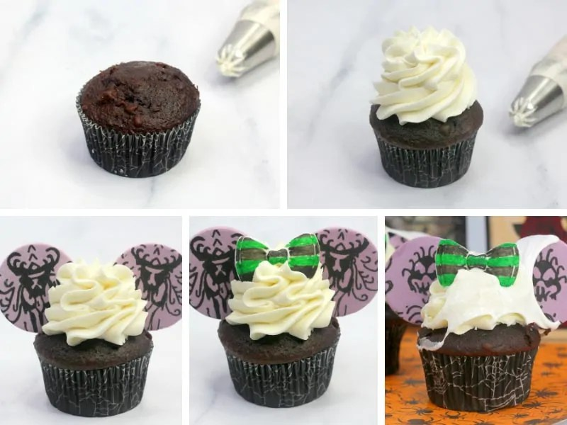 Recipe card with step by step photos demonstrating how to make Haunted Mansion Cupcakes