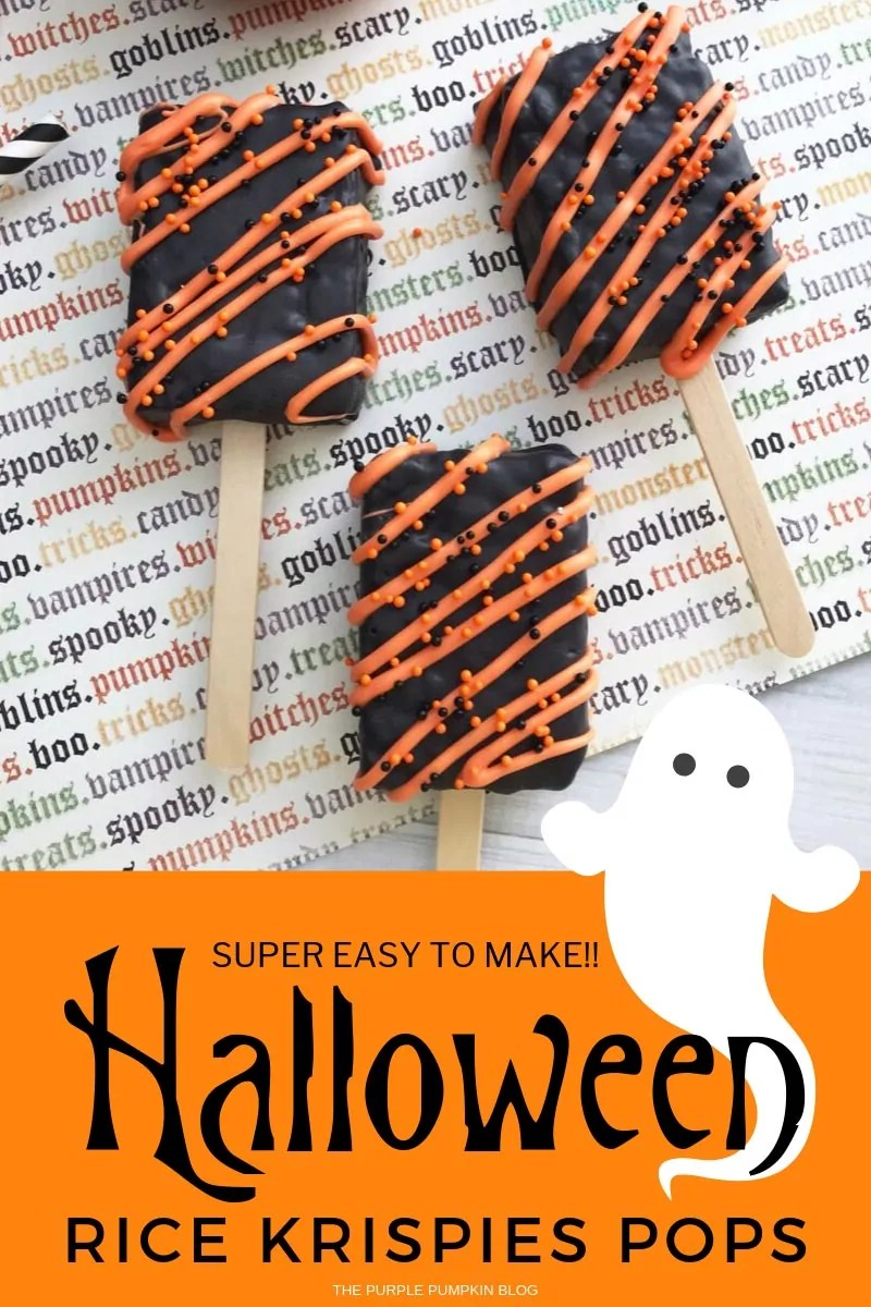 Super Easy to Make!! Halloween Rice Krispies Pops