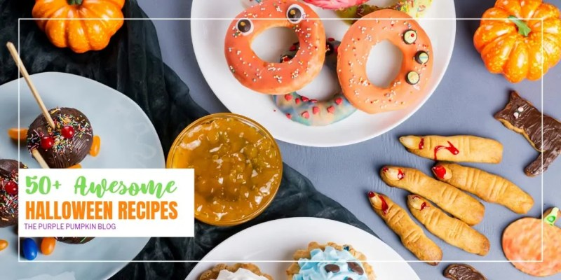 If you are looking for awesome Halloween Recipes then stop your search right now as you have found them! In fact, there are 50+ freakishly good recipes for you to sink your teeth into! From savory appetizers and snacks, through to main dishes to serve for a spooky supper, and of course, lots and lots of treats! Wash it all down with a Halloween cocktail or mocktail, and your celebrations will be fangtastic! #HalloweenRecipes #ThePurplePumpkinBlog #HalloweenPartyFood