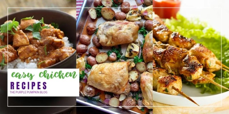 Need a dinner recipe for tonight? Then take a look through this delicious selection of 50+ easy chicken recipes that are perfect for stress-free family meals, any night of the week. With sheet pan chicken dinners, salads, soups, and chicken breast recipes, plus tasty tropical chicken recipes, curries, Caribbean jerk chicken, slow cooker chicken, international chicken recipes, and more. #EasyChickenRecipes #ChickenRecipes #ThePurplePumpkinBlog #SheetPanChicken #ChickenDinners