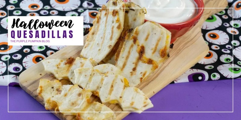 Make a batch of Halloween Quesadillas for a spooky family lunch or dinner, as a snack before Trick or Treating, or as ghoulish party food for your Halloween celebrations. They are so easy and quick to make and everyone will love the creepy, cheese-stuffed tortilla shapes that you serve! #HalloweenQuesadillas #ThePurplePumpkinBlog #HalloweenRecipes #HalloweenSnacks #HalloweenTreats #Quesadillas #Recipes