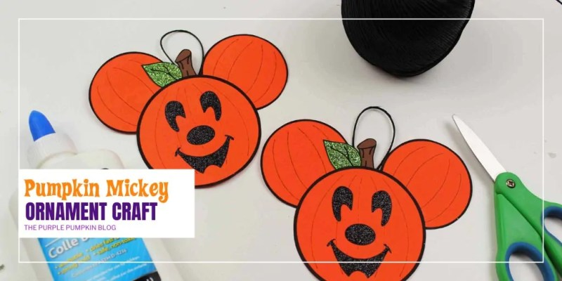 This Mickey Mouse Pumpkin Ornament craft is just the thing to make if you are a Disney at Halloween fan! If you've visited the Disney Parks during the Halloween season you will have seen Mickey as a Jack-o'-Lantern all over the place - and now you can make your own pumpkin head Mickey for your Halloween tree! #MickeyMousePumpkinOrnament #DisneyCrafts #HalloweenCrafts #ThePurplePumpkinBlog #PumpkinCrafts #MickeyMouseCrafts