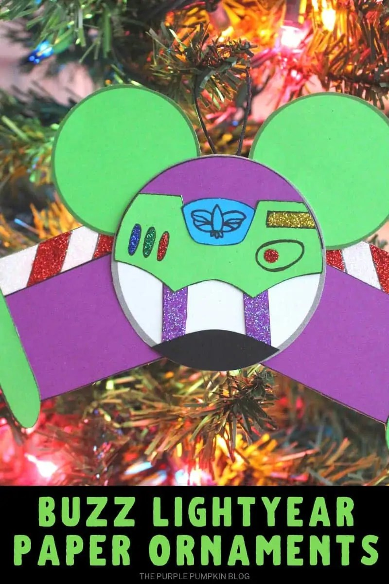 Buzz Lightyear ornament hanging on Christmas tree