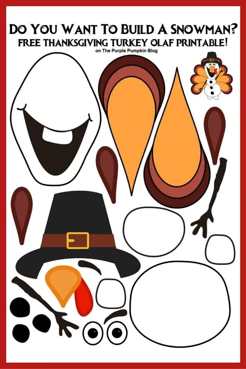 Thanksgiving Turkey Olaf Printable Sheet