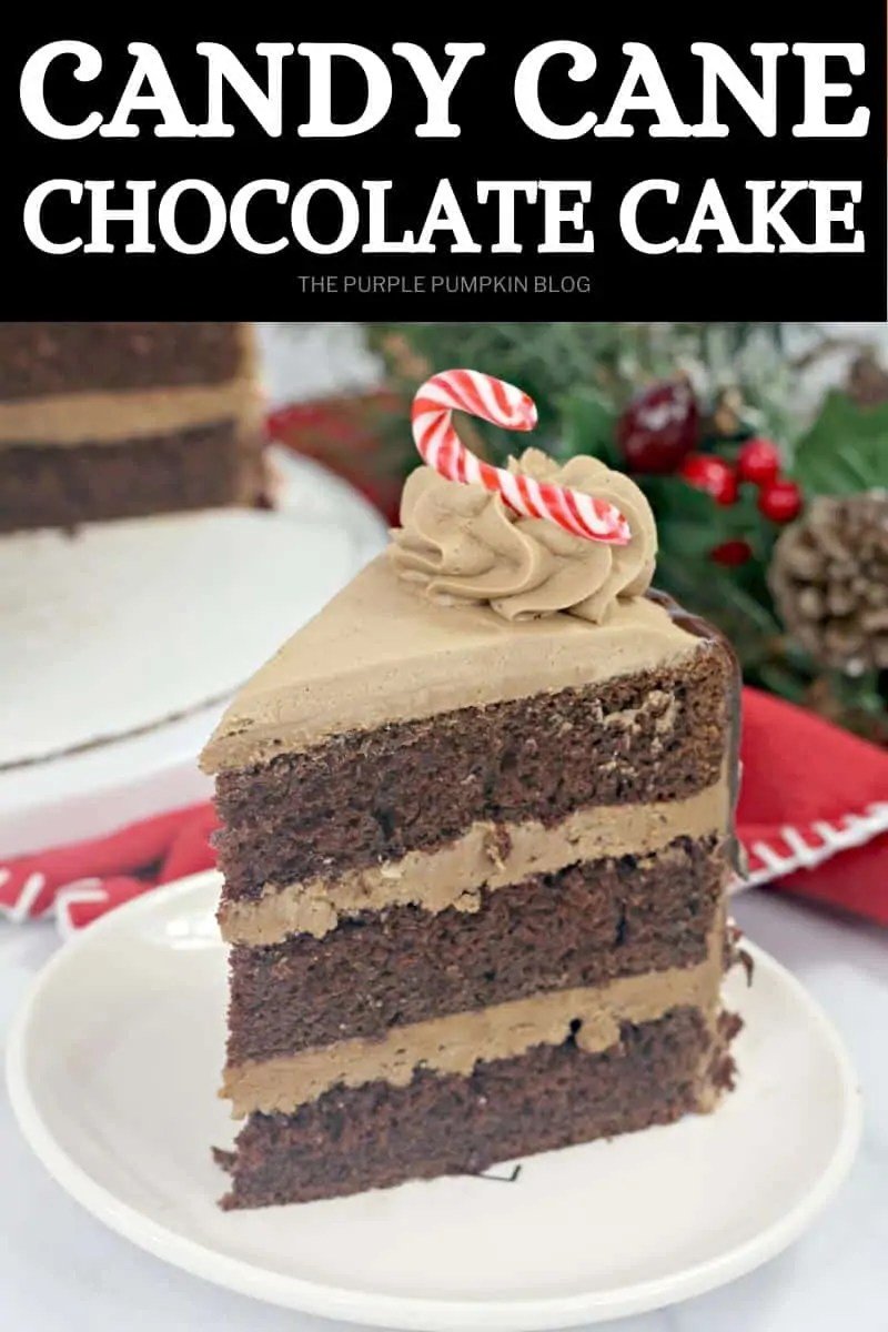 A slice of candy cane chocolate cake