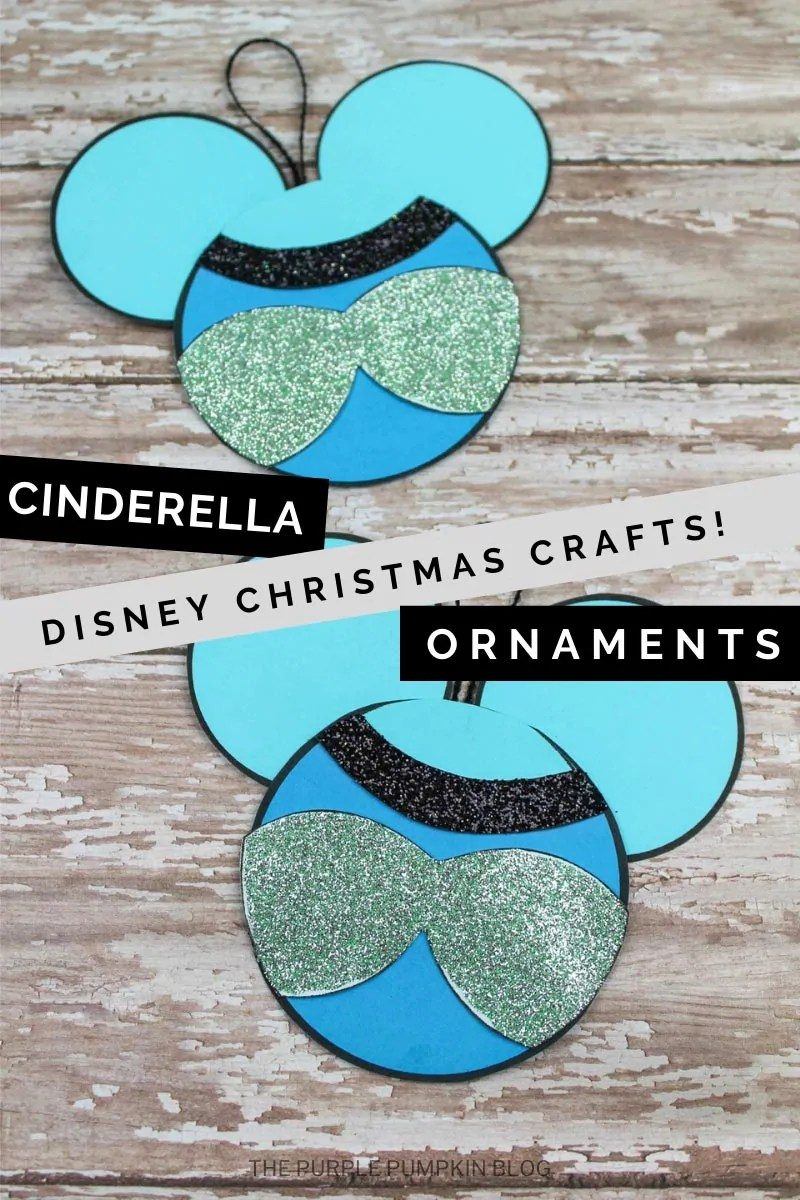 This Cinderella Christmas Ornament Craft is made with construction paper and is so easy to assemble using a free printable template! Turn a classic Mickey-Head shape into Cinder's iconic blue dress and hang the ornament on your Christmas tree! This Disney Princess craft is fun for all ages. #CinderellaChristmasOrnamentCraft #ChristmasOrnamentCrafts #DisneyCrafts #OrnamentCrafts #ChristmasCrafts #ThePurplePumpkinBlog #Crafts
