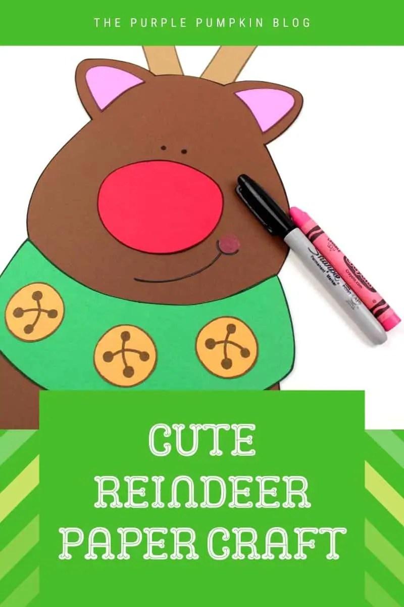 Cute printable reindeer paper craaft