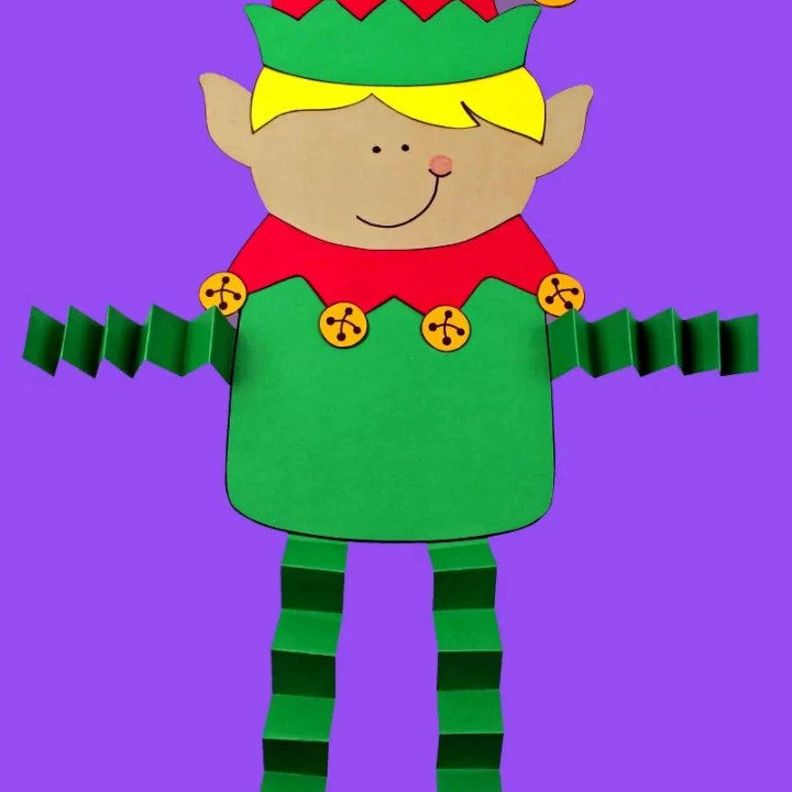 Paper Elf on Purple Background