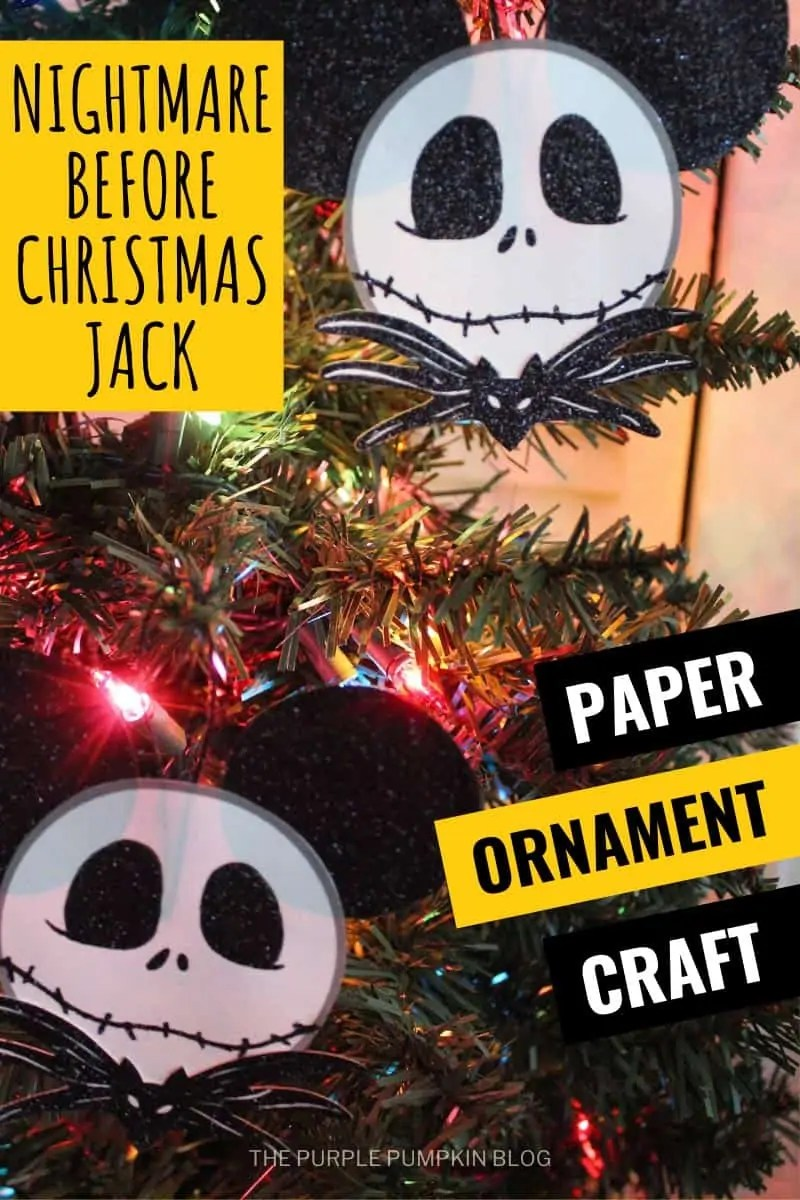 Nightmare Before Christmas Jack Paper Ornament Craft