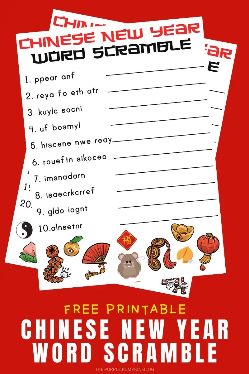 Free Printable Chinese New Year Word Scramble