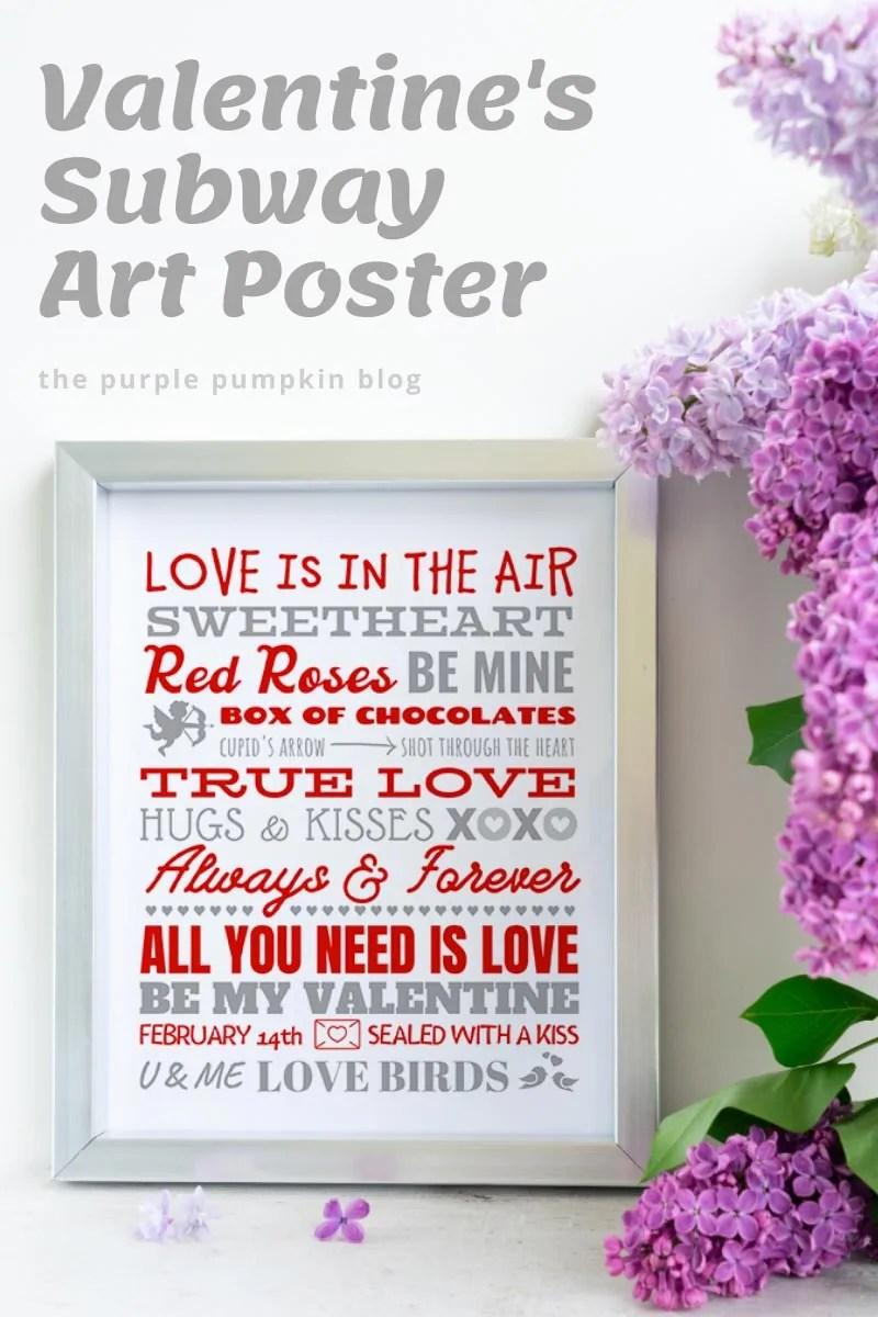Valentine's Subway Art Poster