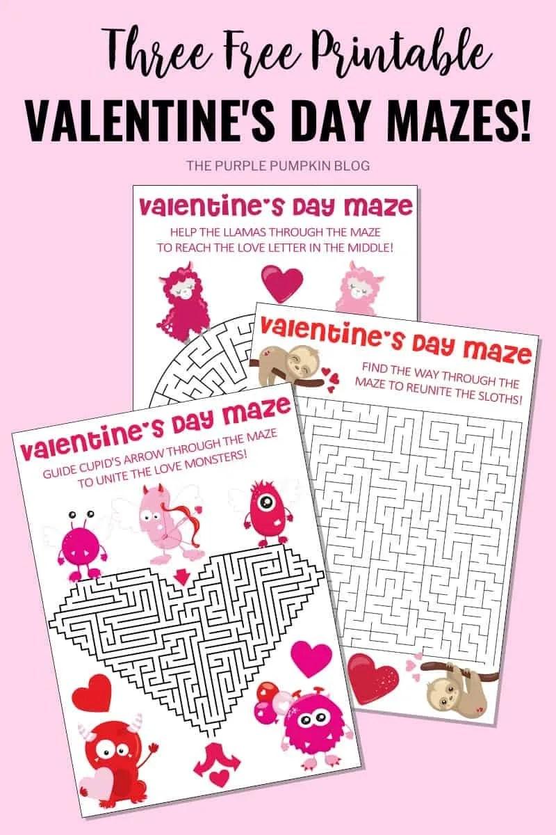 Three free printable Valentine's Day Mazes