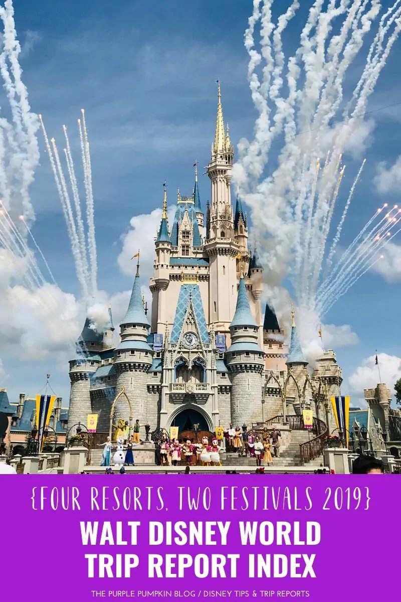 A picture of Cinderella Castle at Magic Kingdom, Walt Disney World, with fireworks shooting out of the sides of the building and various characters standing on the stage in front of the Castle.