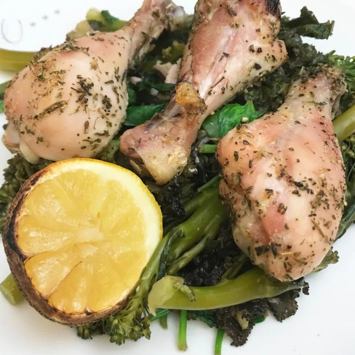 Lemon Herb Chicken Drumsticks with Smoky-Bacon Greens