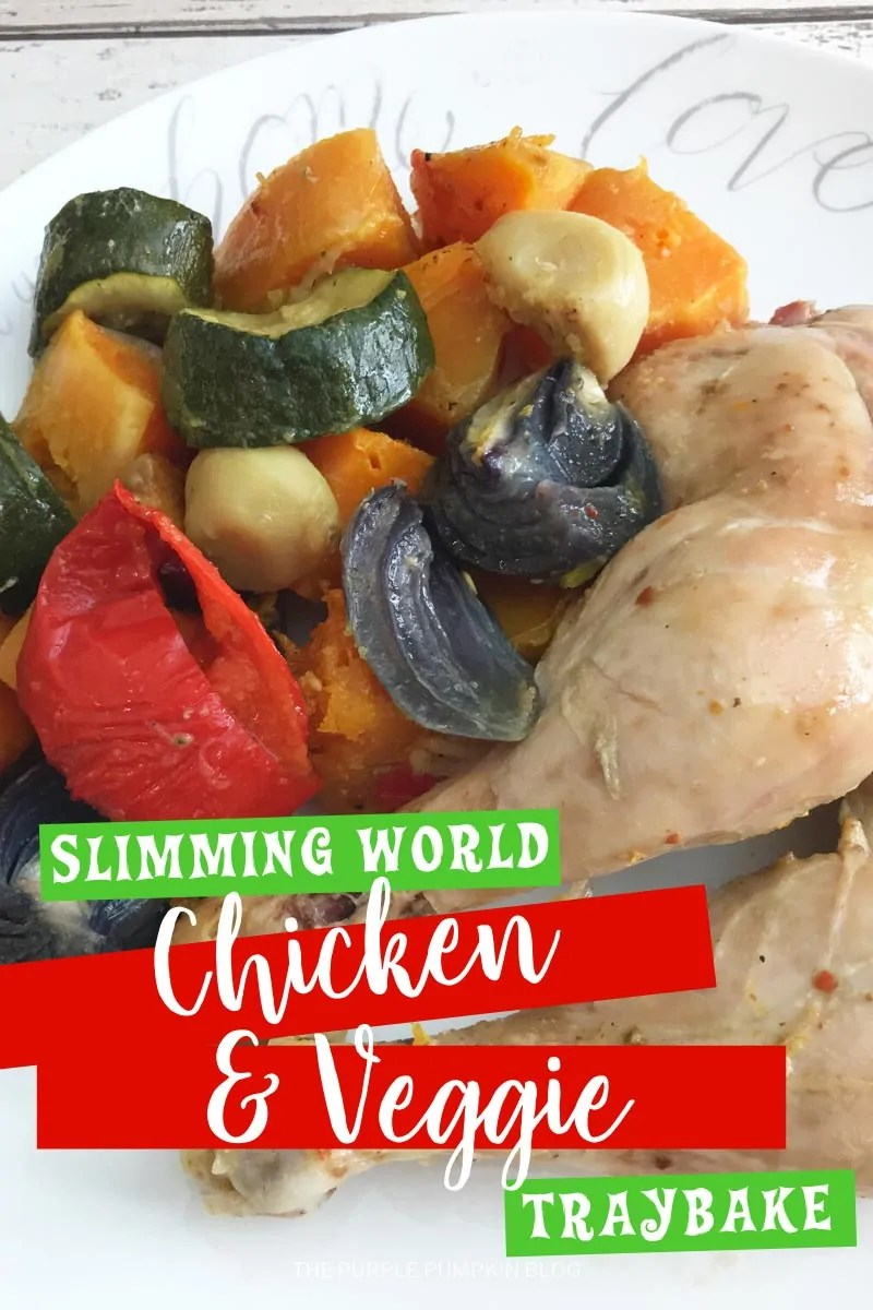 Slimming World Chicken & Veggie Traybake. Skinless chicken legs with a variety of roasted vegetables on a white plate. Same dish throughout with different angles and text overlay.