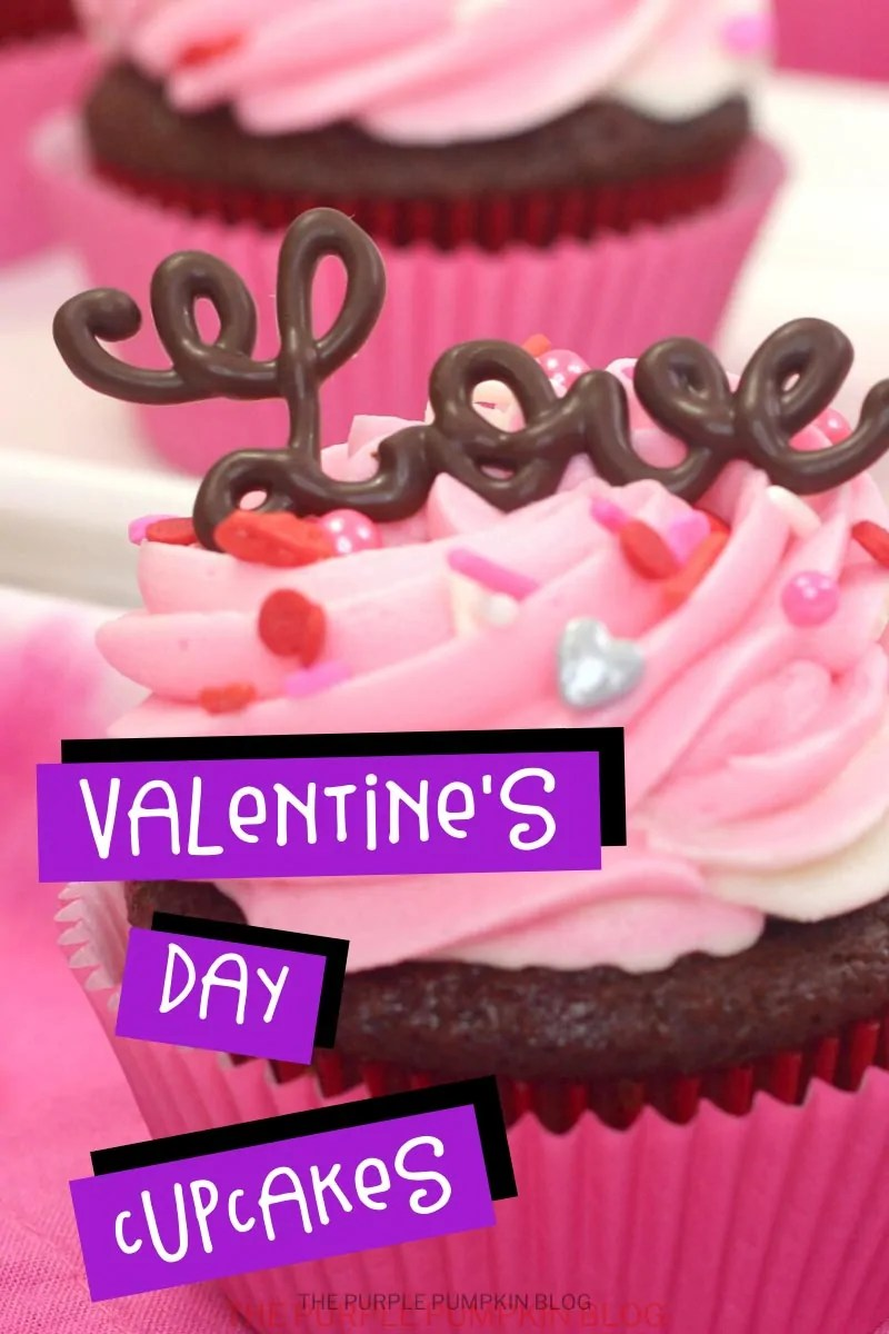 Valentines Day Cupcakes - a close up shot of a chocolate cupcake in a pink cupcake liner with pink and white frosting swirled on top, covered in sprinkles and the word'love' piped in chocolate sat on the top.
