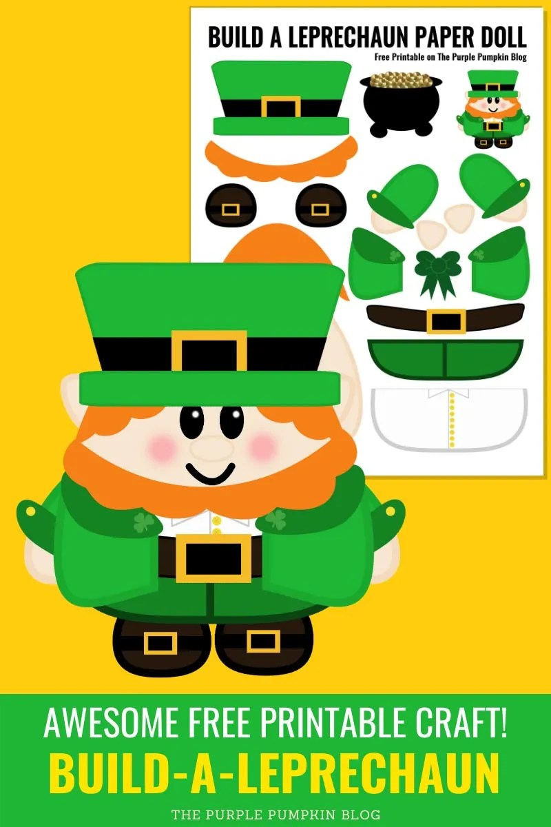 "Digital image of a""paper"" leprechaun and the printable worksheet with various leprechaun pieces."