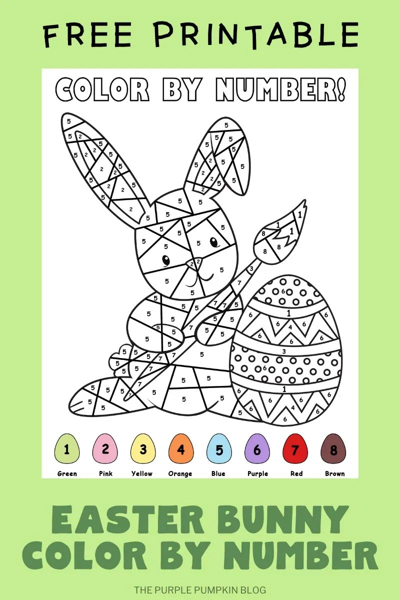 Free Printable Easter Bunny Color By Number