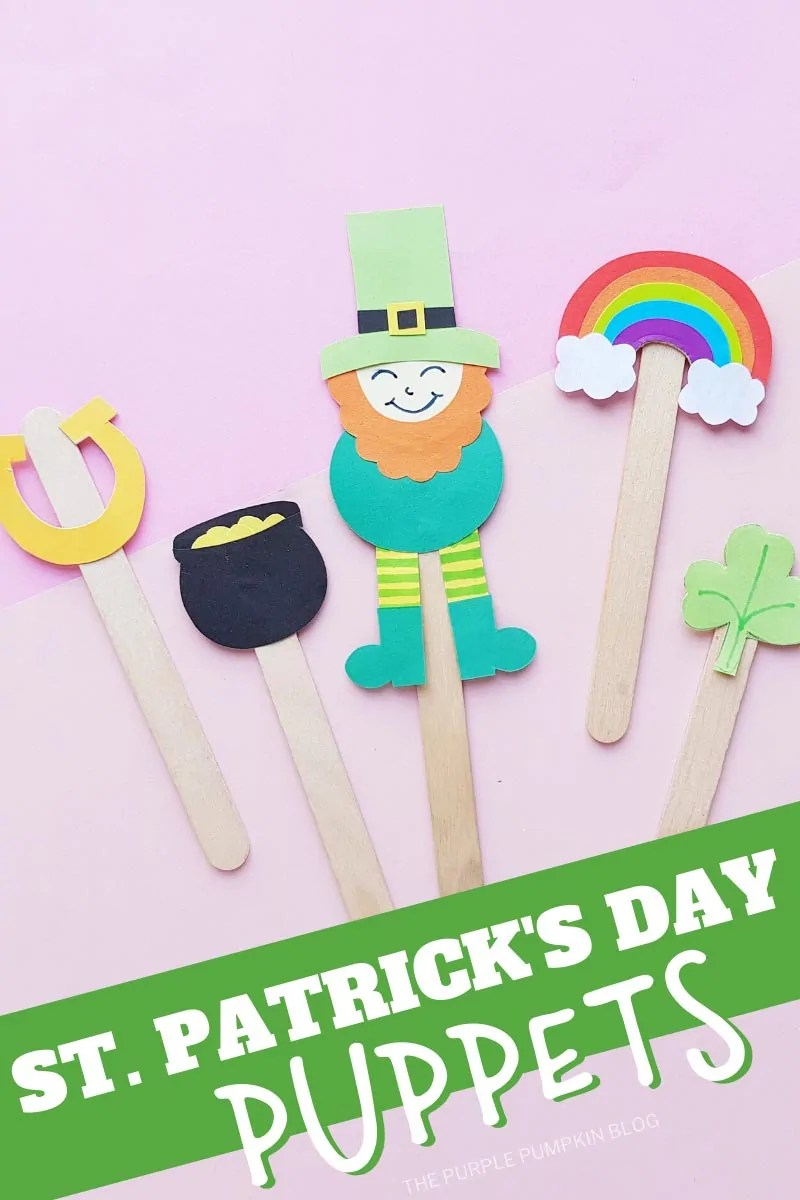 St. Patrick's Day Puppets: A set of five paper puppets made using popsicle sticks. They are a leprechaun, pot of gold, rainbow, horseshoe and a shamrock. Laid flat on a pink background. Same image throughout at different angles and with different text overlay, unless otherwise described.