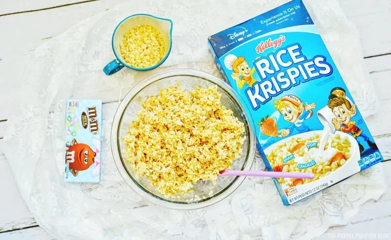 Rice cereal and melted marshmallow stirred together.
