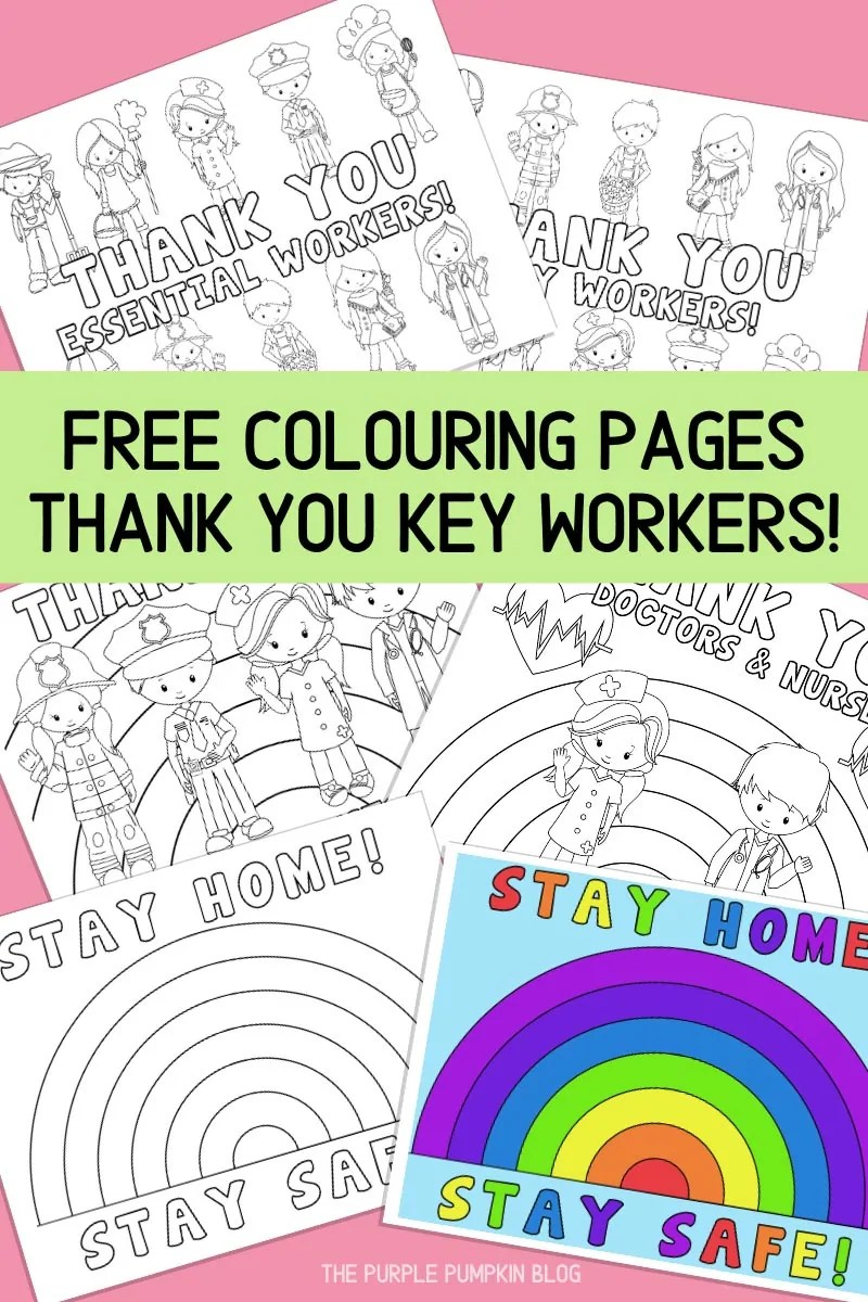Free Colouring Pages Thank You Key Workers!