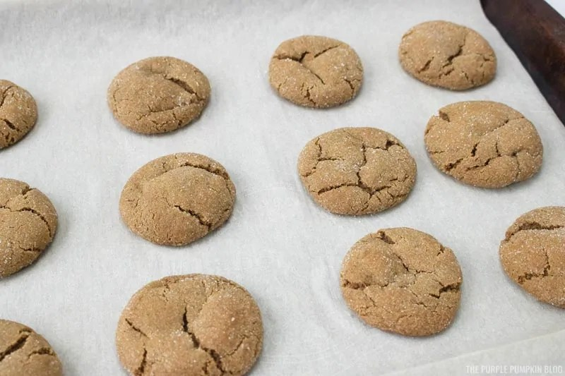 Baked Gingersnap Cookies on cookie sheet
