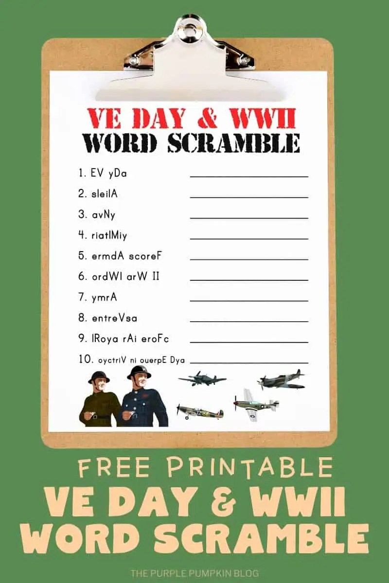 Free Printable VE Day & WWII Word Scramble