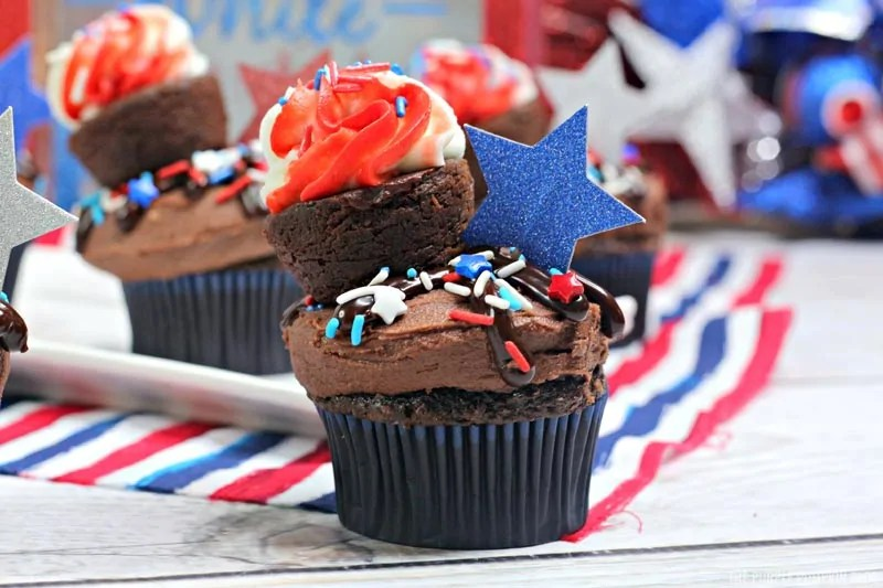 Completely deocrated brownie cupcake for 4th of July