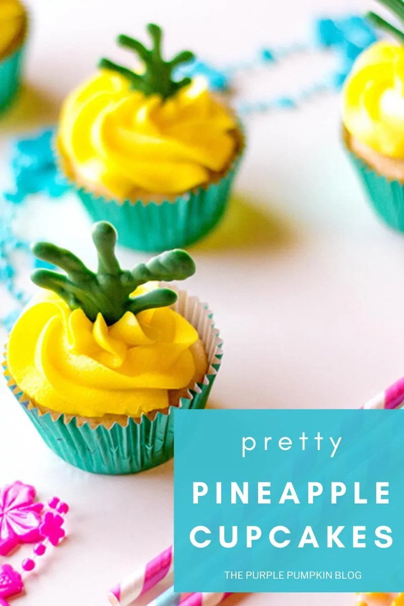 "Pretty Pineapple Cupcakes - coconut cupcakes topped with yellow pineapple frosting and green candy leaves on a pink background with tropical party accessories. Text overlay says""pretty pineapple cupcakes"" Photos from same photo shoot used throughout with various text overlay, unless otherwise described."