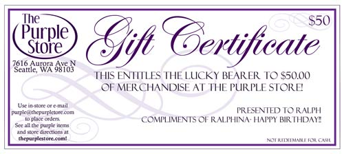 Gift Certificate For The Purple Store By Email