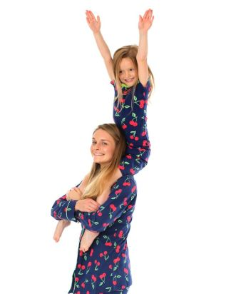 Girls Navy  Cherry Pyjamas